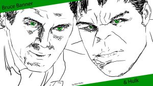 Bruce Banner/Hulk - Marvel-Age of Ultron-sketch by Mon-Kishu