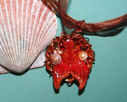 fire orange and red mermaid fin necklace by SuperFlashDance