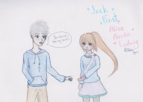 .:Commission:. Jack Frost and Alice by RikaYoru
