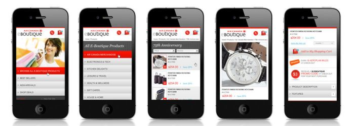AirCanadaBoutique mobile by Webdesignerps