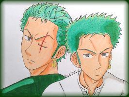 Before and after timeskip//Roronoa Zoro by EvilAngelofKC17