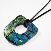 Large Hole Fused Dichroic Art Glass Pendant by Create-A-Pendant