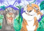 Bagheera and Shere Khan by puredarkred