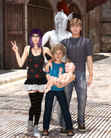 The Kids and a Statue by Zaarin1