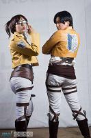 Hanji and Levi cosplay by IvanaHeartfilia