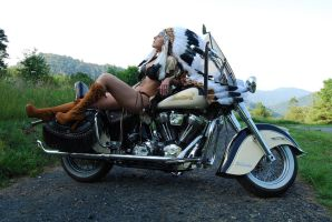 Indian Motorcycle Pin Up by Caveman1a