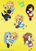 FF7 (Maid) Chibis by SerinuCeli