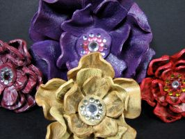 Leather flower bouquet by maskedzone