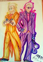 Color Pencil Drawing: Eugnene and Dark Eugene by xRAVENBLADEx