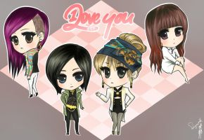 2NE1: ILY chibis by sakuyasworld