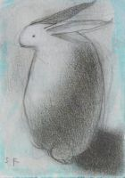 White Rabbit with Blue ACEO by SethFitts