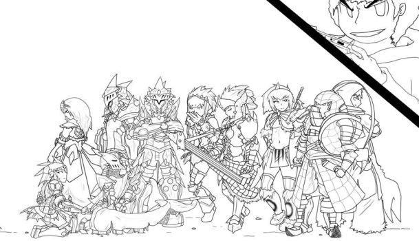 Line Art History : Monster hunter favourites by megamikoyex on deviantart