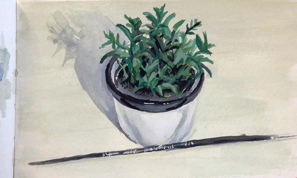 Pot Plant and Paintbrush by fivetinsoldiers