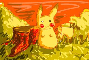 Pikachu Color Practice (Warm Colors) by Projectile-Vomiting