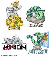 Pile and minion badges by The-SixthLeafClover