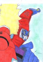 Optimus attacking with the ax TA by ailgara