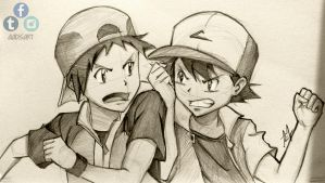 Pokemon - Red VS Ash by Iza-nagi