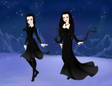 wednesday and morticia addams by adrianaTheGirlOnFire