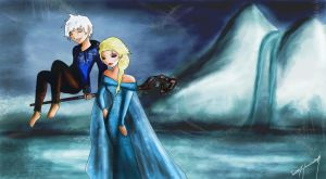 Jack Frost and Elsa from Arendelle by EvanOdinson