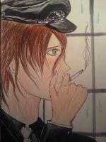 Man with a cigarette by leaazian