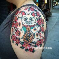 Maneki Neko by brynntattoos