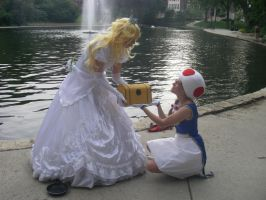 Deliver to Mario - Peach and Toad - Spring '12 by FuzzyRedPants