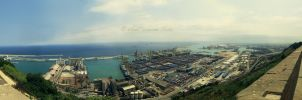 Barcelona Harbor Panorama. by silent-scream-throe
