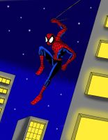 spiderman swinging by streetgals9000