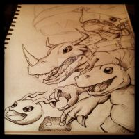 ::agumon evolution (incomplete) by MarineFlake
