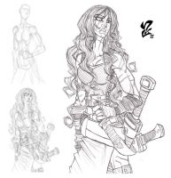 Red Sonja pencils by Grigori77
