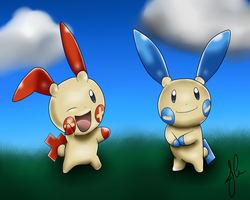 Plusle and minun by The-Bomb-Dot-Com