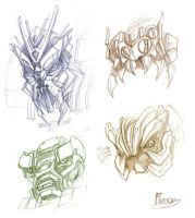 Four Decepticon heads rough by zgul-osr1113