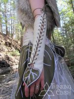 Women's Elvish White Leather Leaf Bracer by ThinkingElvish
