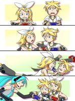 Vocaloids playing game by robin01jp