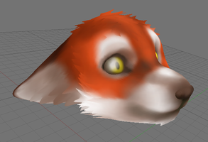 3D Fox Anthro Head Updated by AkuOreo