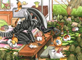 Xenomorph Atsume by frowzivitch