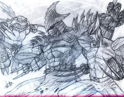 Slash Vs Super Shredder Vs Wolverine by Felipe-Rodrigues