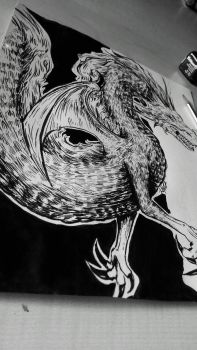 Dragon ink drawing by Suichah