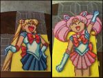Sailor and Chibi Moon Perler Bead Art by jnjfranklin