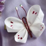 Large white butterfly kanzashi by elblack