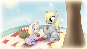 Derpy and Dinky Picnic Wallpaper by Zedrin