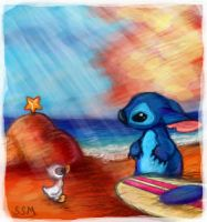 Stitch and a duck by firefly-wp