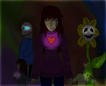 My Oc with some of the Undertale crew by Luna-the-Nightblade