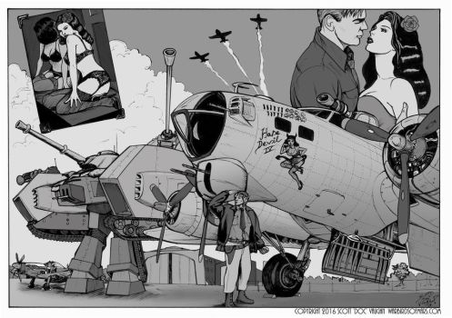 Warbirds of Mars - Jack's airfield by DocRedfield