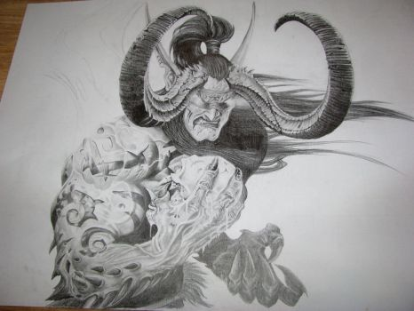 Illidan Stormrage pencil drawing by EternityArtist
