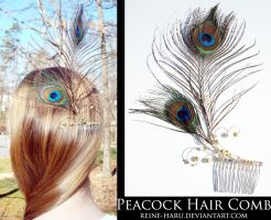 Peacock Hair Comb by Reine-Haru