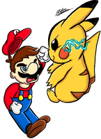 IT'S NOT OCTOBER 3RD YET!- Mario vs Pikachu by Iyzeekiil