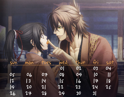 Okita Souji January 2014 Calendar by MegaBleachy