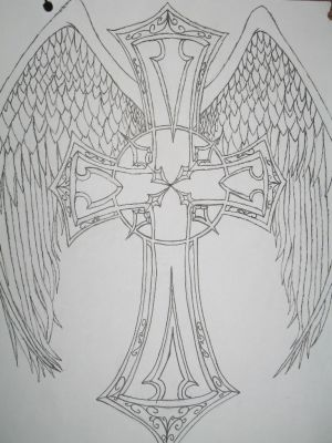 tribal wings and cross tattoo designs. Cross Tattoos With Angel Wings. Cross