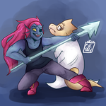 fish wife and lizard babe by Roseattaa
